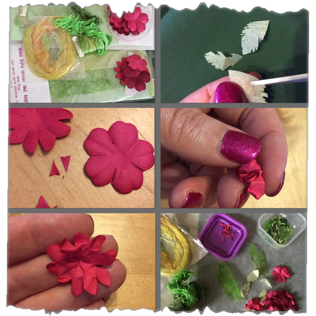 Top left - Background materials. Top right - Cutting hand dyed vilene into leaves. Middle left - Cutting the paper flowers. Middle right - Scrunching the paper flowers. Bottom left - the textured paper flower unscrunched. Bottom right - background materials prepared. www.kateskloths.co.uk