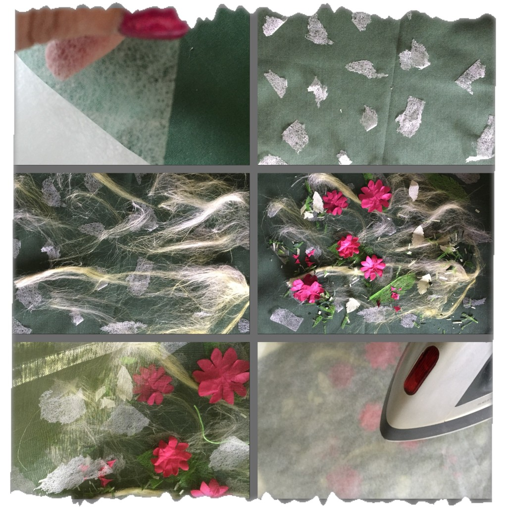 Top left - remove bondaweb from backing paper. Top right - tear bondaweb into small pieces and sprinkle onto the backing fabric. Middle left - pull out some hand dyed silk tops and add a thin layer. Middle right - Add fabric snippets, thread and paper flowers and then cover with bonding powder.  Bottom left - cover the whole design with fine organza. Bottom right - cover with baking paper and press. www.kateskloths.co.uk