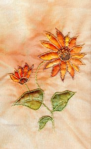 Shadow work sunflowers www.kateskloths.co.uk