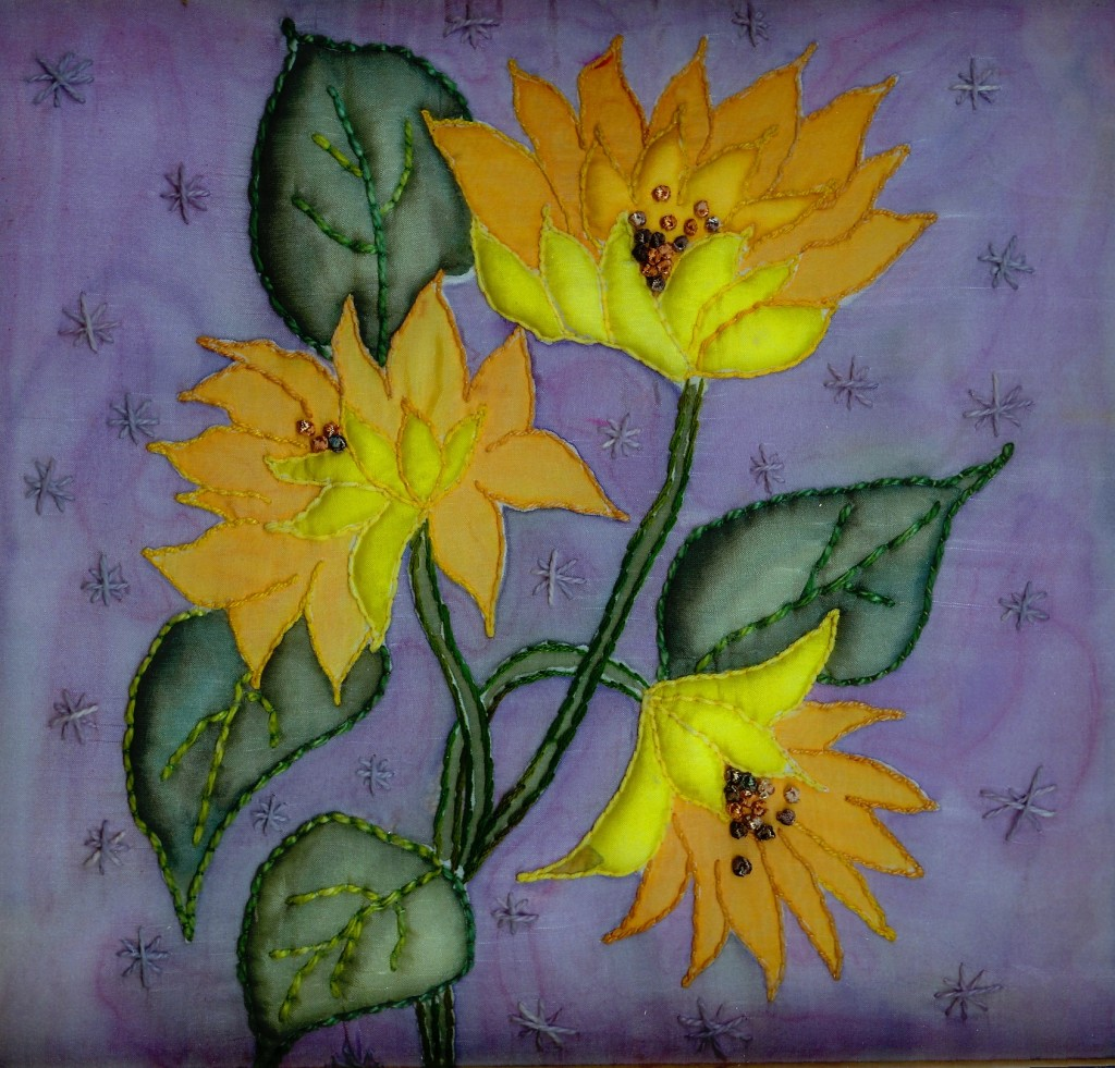 Silk painted sunflowers with couching and trapunto www.kateskloths.co.uk
