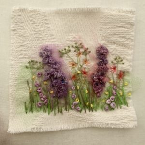 Hand embroidery on Jacquard cotton